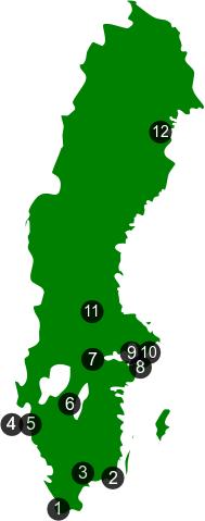 Karta över ekologiska klädbutiker i Sverige.
